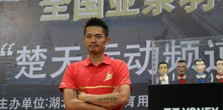 Lin Dan attends the Legend's Vision promotional tour in Wuhan, China.