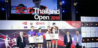 Tan Kian Meng-Lai Pei Jing stand on the podium of 2016 Thailand Open. (photo: Granular)