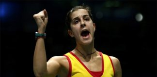 Carolina Marin plays a great match against Sun Yu in the quarter-finals of 2016 Denmark Open. (photo: AP)