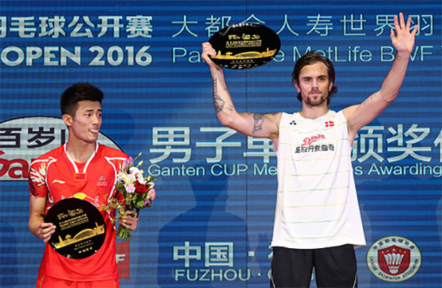 Denmark's Jan Jorgensen upset Olympic champion Chen Long to win the 2016 China Superseries. (photo: AP)