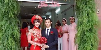 Wish Nguyen Tien Minh and Vu Thi Trang a lifetime of love and happiness. (photo: Nguyen's Facebook)