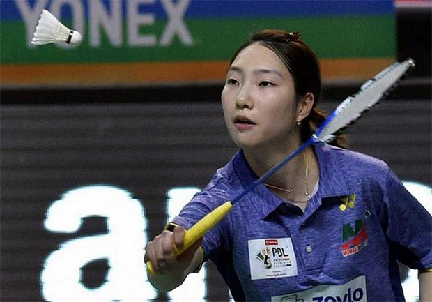 Sung Ji Hyun wins a jaw-dropping match against Carolina Marin in 2017 Premier Badminton League. (photo: PBL)