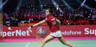 Carolina Marin plays in the 2017 Premier Badminton League.(photo:PBL)
