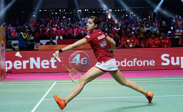 Carolina Marin plays in the 2017 Premier Badminton League.(photo:PBL)