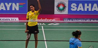 P.V. Sindhu celebrates after beating Saina Nehwal in the 2017 Premier Badminton League semi-finals. (photo: PBL)