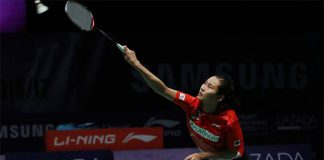 Wang Yihan loses her Purple League debut on Thursday. (photo: Purple League)