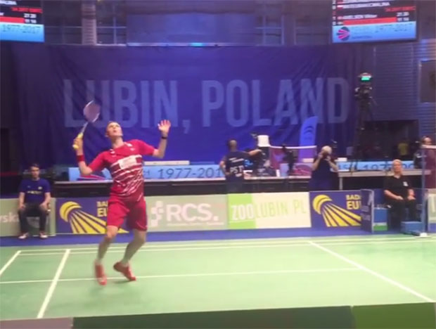 Denmark's Viktor Axelsen plays Henri Hurskainen of Sweden in 2017 European mixed team championships.