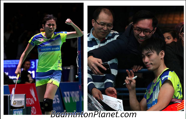 Goh Liu Ying/Chan Peng Soon celebrate after beating Zhang Nan/Li Yinhui in All England second round. (photo: AFP)