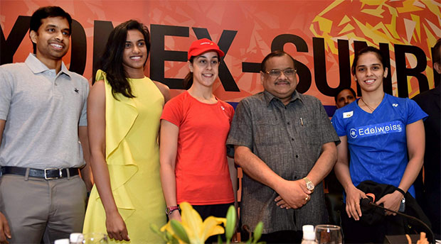 (From left)India's badminton head coach Pullela Gopichand, P.V. Sindhu, Carolina Marin, BAI President Akhilesh Das Gupta, and Saina Nehwal during a press conference at 2017 India Open World Superseries. (photo:PTI)