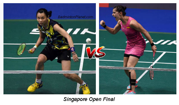 Tai Tzu-ying & Carolina Marin will take on each other again in Singapore Open final. (photo: AFP)