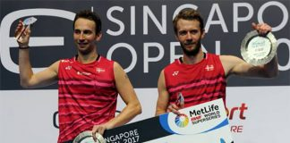 Congratulations to Mathias Boe/Carsten Mogensen for winning the 2017 Singapore Open. (photo: AFP)