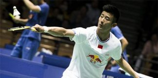 Chen Long in action on day two of the Badminton Asia Championships.