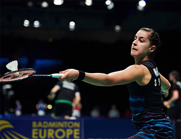 Carolina Marin wins the 2017 European Championships women's singles title. (photo: AFP)