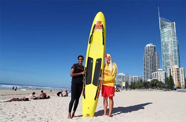 PV Sindhu at Surfers Paradise Beach. (photo: Chris Hyde)
