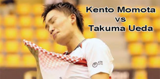 Kento Momota cries as he beats Takuma Ueda in the Japan Ranking Circuit final.