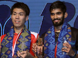 Kidambi Srikanth and Kazumasa Sakai share podium after the Indonesia Open men's singles final. (photo: AP)