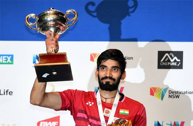 Kidambi Srikanth beats Chen Long to win Australia Open Super Series. (photo: AP)