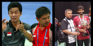 Mulyo Handoyo with Taufik Hidayat (left) and with Kidambi Srikanth.