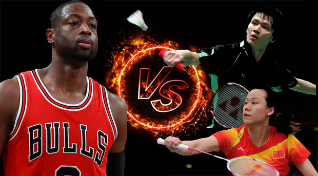 Dwyane Wade plays badminton with Zhao Yunlei, Bao Chunlai