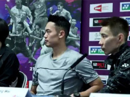 Lee Chong Wei and Lin Dan speak to the press ahead of the World Championships.