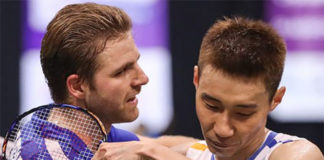 Brice Leverdez vs. Lee Chong Wei. (photo: AP)