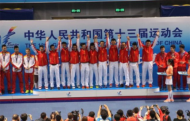 Lin Dan and the Beijing team win their first China National Games men's team title. (photo: AP)
