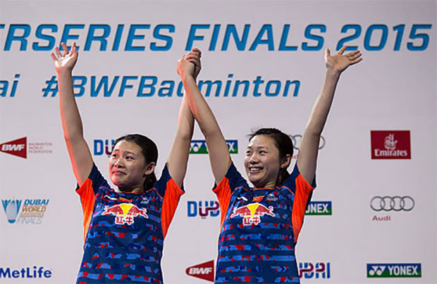 Luo Ying & Luo Yu win the  2015 BWF Dubai World Superseries. (photo: AP)