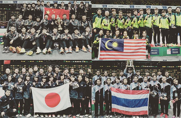 In the picture above are the mixed team gold (China), silver (Malaysia), and bronze (Thailand & Japan) medalists at the medal ceremony of 2016 World Junior Championships. (photo: AP)
