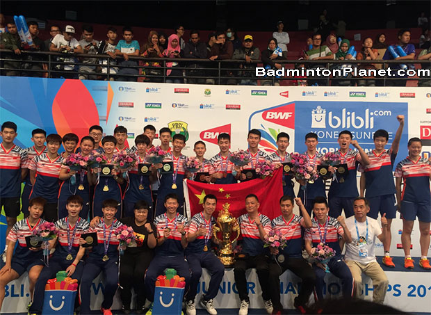 China beat Malaysia to retain 2017 BWF World Junior Mixed Team Championships crown.