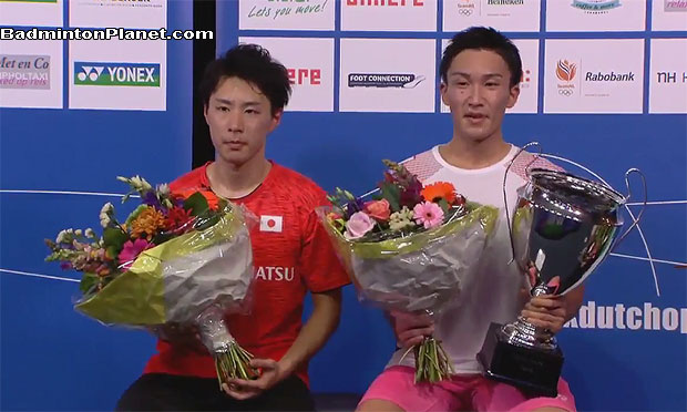 Kento Momota and Yu Igarashi at the Dutch Open award ceremony.