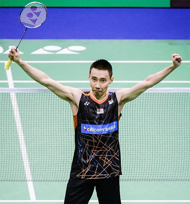 Lee Chong Wei celebrates his victory against Chen Long during the men's singles final at the 2017 Hong Kong Open final.