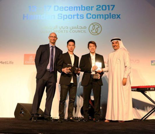 "Congratulations to Kevin Sanjaya Sukamuljo/Marcus Fernaldi Gideon for winning the 2017 BWF ""Male Player of the Year"" award. (photo: AP)"