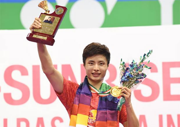 Shi Yuqi is spearheading the China men's team challenge at the Asia Badminton Championships to be held in Malaysia next week. (photo: AP)