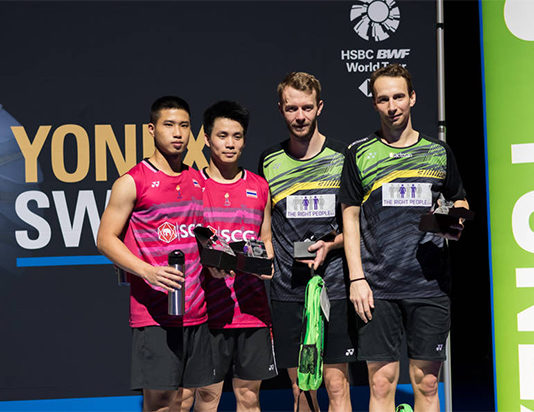 Mathias Boe/Carsten Mogensen pocket $11,850 as the men's doubles champions of the Swiss Open Super 300 tournament. (photo: SwissOpen)