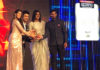 PV Sindhu and Kidambi Srikanth accept the TOISA awards. (photo: rajeshkalra)