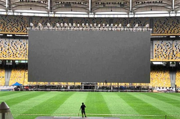 The special-built giant 40m X 17m LED screen National Stadium in Kuala Lumpur Sports City, Bukit Jalil. (photo: Bernama)
