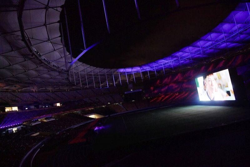 The giant 40m X 17m LED screen has turned the stadium into a mega cinema. (photo: Bernama)