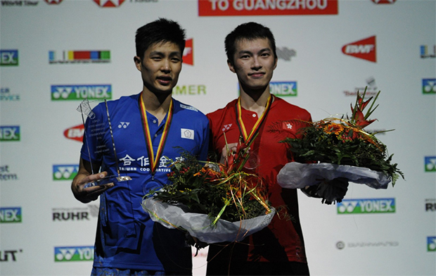 Chou Tien Chen (left) stands next to Angus Ng Ka Long during the award ceremony. (photo: C Pauli)