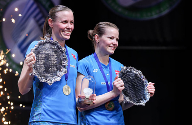 Congratulations to Kamilla Rytter Juhl/Christinna Pedersen for winning the 2018 All England title. (photo: AP)