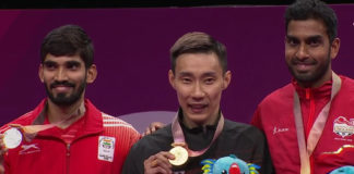 Lee Chong Wei beats World No. 1 Kidambi Srikanth 19-21, 21-14, 21-14 to win men's singles gold at the 2018 Commonwealth Games