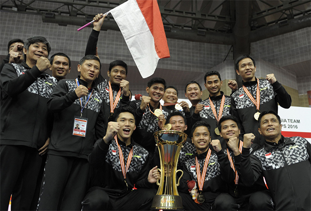 The Indonesia Thomas Cup team sure has the strongest men's doubles pairs among the participating countries. (photo:AP)