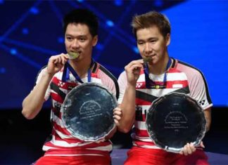 Marcus Fernaldi Gideon/Kevin Sanjaya Sukamuljo are most dominant men's doubles pair of the past 2 years. (photo: AP)
