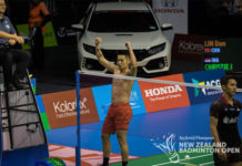 Lin Dan beats Jonatan Christie to win his career 65th singles title at 2018 New Zealand Open. (photo: New Zealand Open)