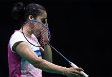 Saina Nehwal loses to Michelle Li in the 2018 Uber Cup opener. (photo: AFP)