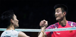 Kento Momota to face Chen Long in the Thomas Cup final. (photo: AFP)