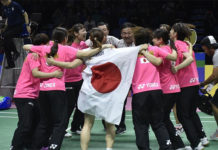 Team Japan celebrate after winning the BWF Uber Cup 2018 final against team Thailand in Bangkok. (photo: AP)