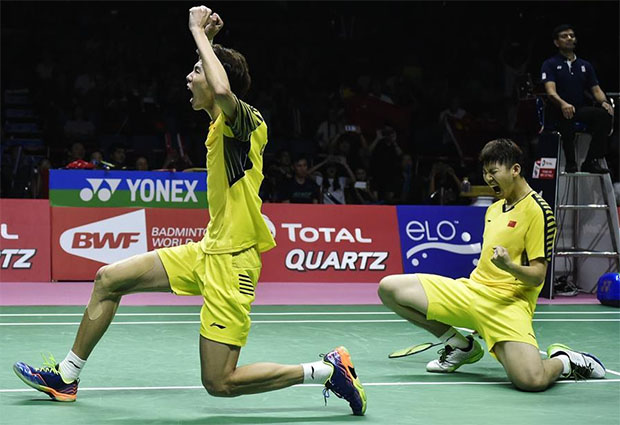 Liu Yuchen/Li Junhui are ecstatic after their come from behind win over Keigo Sonoda/Yuta Watanabe. (photo: AP)