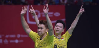 Marcus Fernaldi Gideon/Kevin Sanjaya Sukamuljo have eyes on Asian Games. (photo: AP)