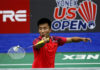 Lu Guangzu returns a shot from Suppanyu Avihingsanon of Thailand at the 2018 US Open. (photo: AP)