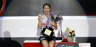Nozomi Okuhara celebrates her Thailand Open victory. (photo: AFP)